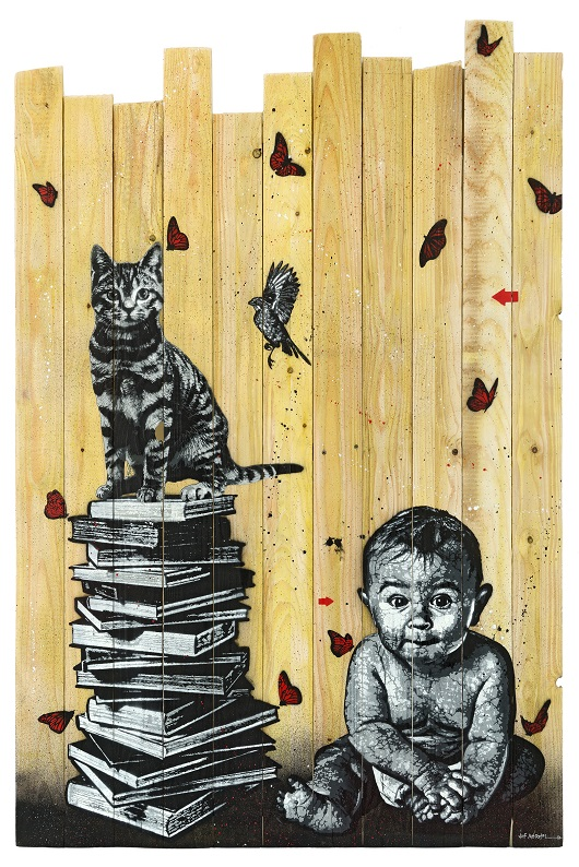 JEF AEROSOL books, cat, bird and baby palissade 160x110cm 530px