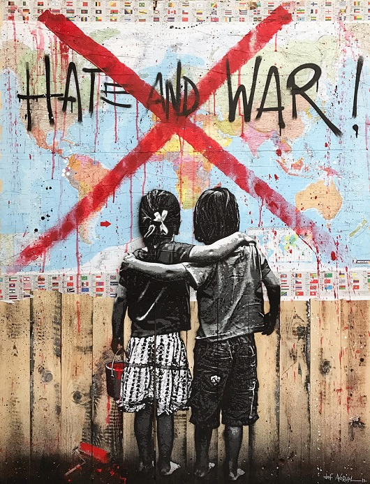 JEF AEROSOL hate and war 160x120cm 530px