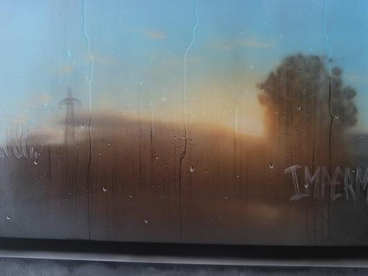 8h34, Bâle, 73x100cm, Acrylique sur toile et plexiglas, 2017 530