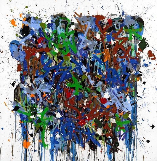 JonOne 2017-Again, acrylique et encre sur toile, 200 x 195 cm 530