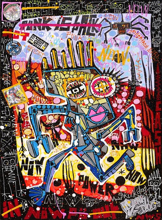 OK 530 IN THE PINE , techniques mixtes sur toile ,116 x 81 cm , 2950Ôé¼