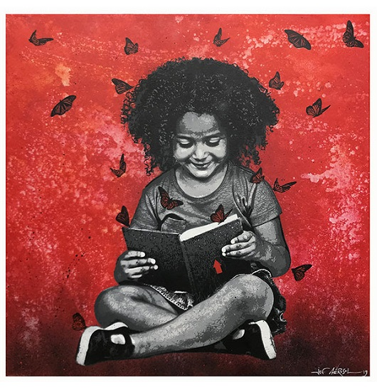 Jef Aerosol, Liseuse, spray et acrylique sur toile, 120x120cm 530