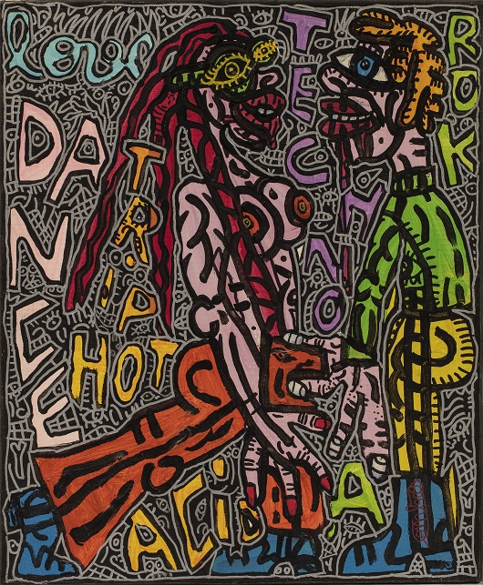 A_ Robert COMBAS LOVE DANCE TRIP HOT TECHNO ROCK ACID, circa 1995-1996 Acrylique sur toile 55 x 46 cm Cette oeuvre est repertoriée dans les archives de l'Atelier Combas sous le n° 8420 44000€