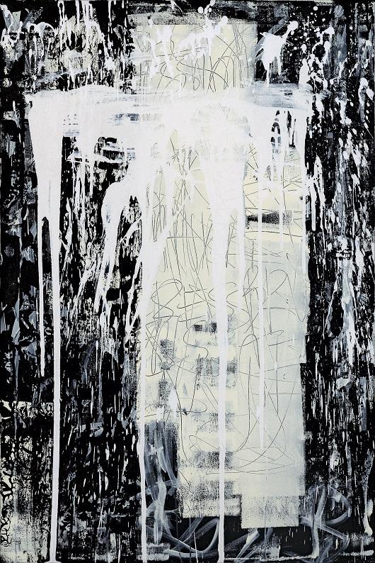 LE BOSS ET LE KHAOS , 2019 , Acrylique sur toile , 146x97 cm 4800Ôé¼