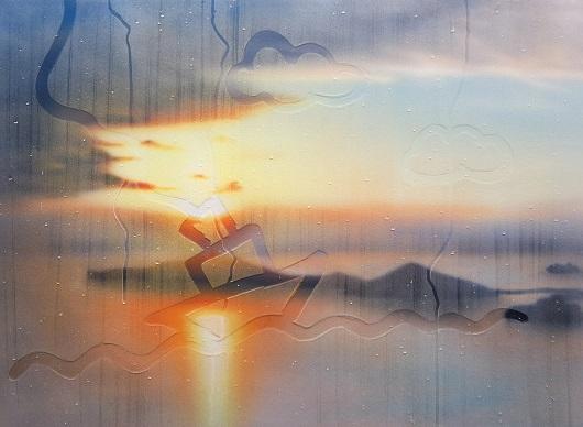 20190904-21h02, Marseille, 73x100cm, Acrylique sur toile et plexiglas, 2019