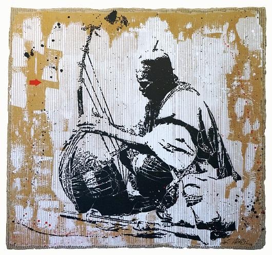 1910_Le joueur de cora sur le bord de la route_carton 98x120cm 6800Ôé¼