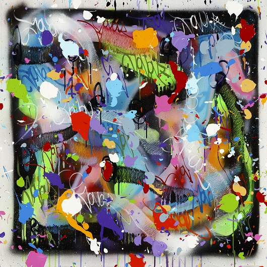 2020-The Savior, acrylique et bombe a+®rosol sur toile, 100 x 100 cm 12500Ôé¼