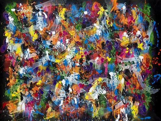 2020-Zephyr Warm Heart, acrylique et bombe a+®rosol sur toile, 153 x 208 cm 34500 530px