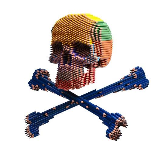 Skull & Bones assemblages crayons H50xL60xP60cm 11000 1500p