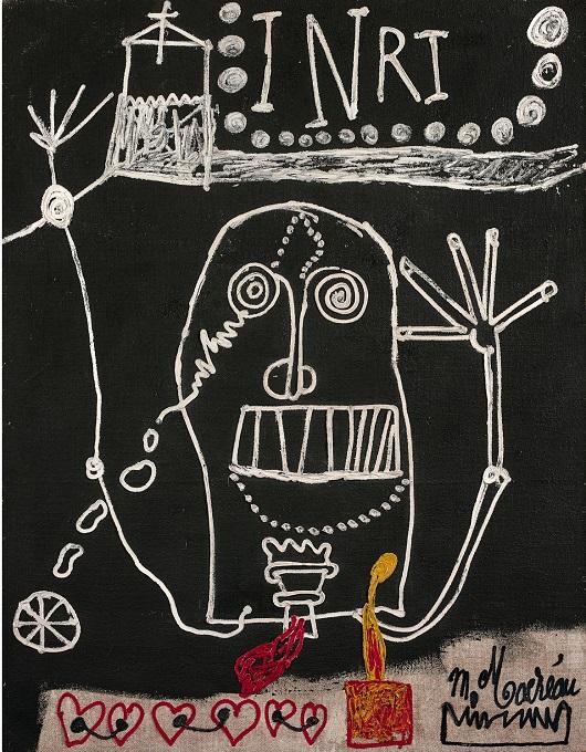 006 MACREAU INRI , circa 1968 toile de jute Sign+®e en bas +á droite 146,3 x 114 cm 49000Ôé¼