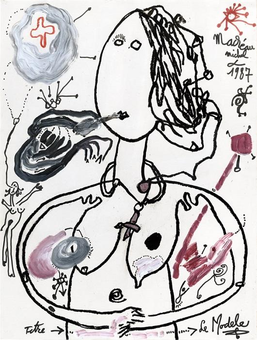 009 Le Modèle , 1987 Acrylique sur papier 65x50cm 9500€