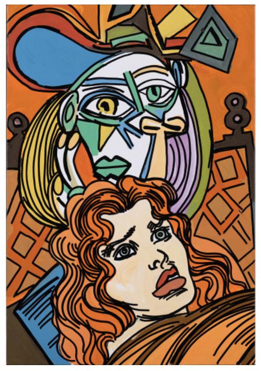 010 Sans titre, (hommage à Picasso) 2007 Peinture glycérophtalique sur toile Signée et datée au dos 55,5 x 37,5 cm Provenance _ - Galerie Louis Carré & Cie, Paris Prix 12500€