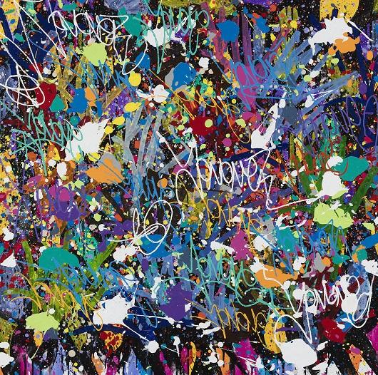 018 JONONE 2020-Donate, acrylique, encre et Posca sur toile, 116 x 112 cm 14800Ôé¼