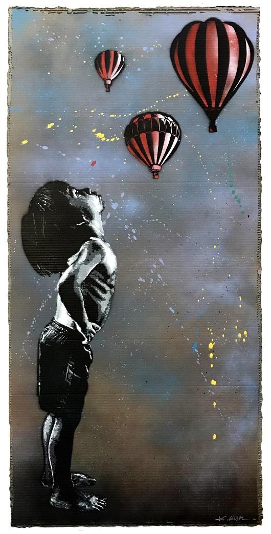 020 JEF AEROSOL MONTGOLFIERES - 2020 Pochoir, spray et acrylique sur carton 165 x 78 cm 7800Ôé¼