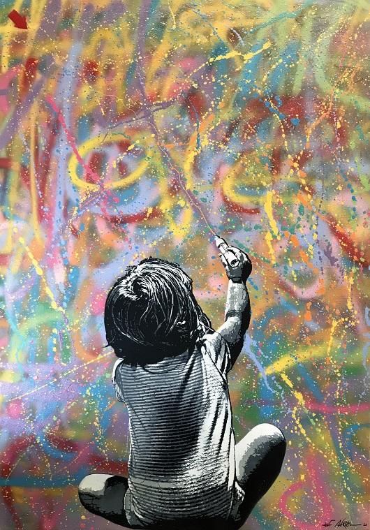 021 JEF ALL OVER - 2020 Pochoir, spray et acrylique sur toile 116 x 81 cm 6200 Ôé¼