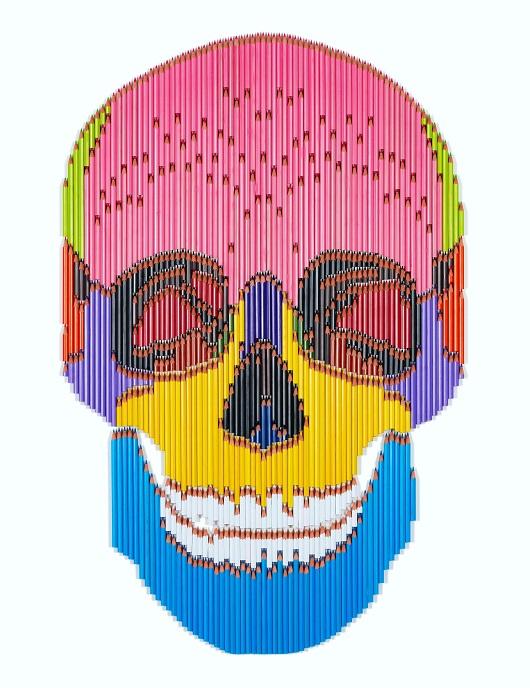029 LUKE NEWTON Skull 1 2020 124x88cm assemblages crayons 7200Ôé¼