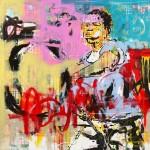 00 Never Give Up _ 120 x 120 cm (2019) - techniques mixtes (acrylique et collage papier) sur toile 2600€
