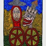 001 COMBAS Les deux personnages +á roulettes, 1988 Acrylique sur toile 147x107 cm r+®pertori+® dans les archives Robert Combas sous le n-¦6759 Prix 88000Ôé¼